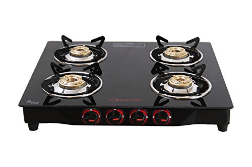 Butterfly Smart Glass 4 Burner Gas Stove