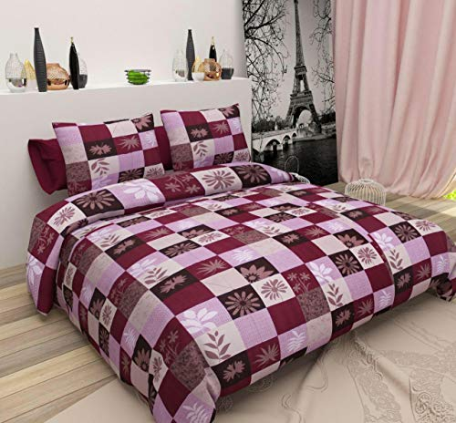 Trazz Prime Collection Glace Cotton 188 TC Premium Double Sized bedsheet with 2 Free Matching Pillow Covers(90 * 90) Inch Color- Maroon Design -Modern