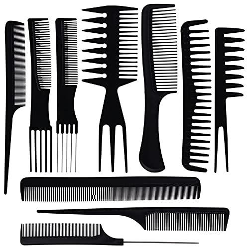 Belicia 10PCS Hair Stylists Professional Styling Comb Set Variety Pack Great for All Hair Types